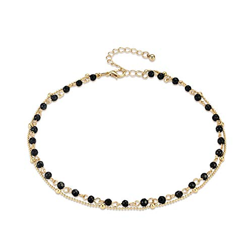 Fettero 14K Gold Plated Dainty Layered Black Natural Stone Beaded Choker Necklace, Handmade Beads Chain (NK5-6) Black Bead Chain Necklace