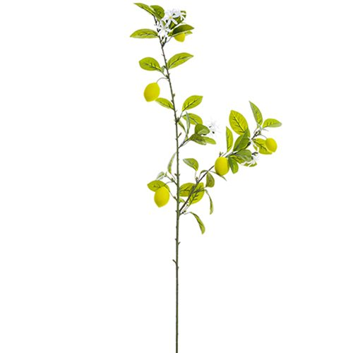 44'' Artificial Lemon Spray Branch -Yellow (pack of 12) by SilksAreForever