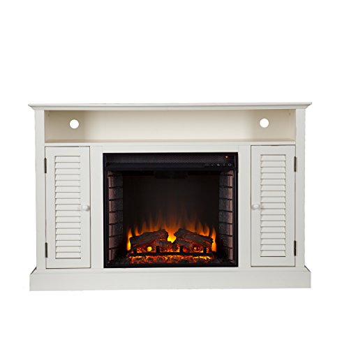 SEI Antebellum Media Console with Electric Fireplace, Antique White by Southern Enterprises (Image #3)