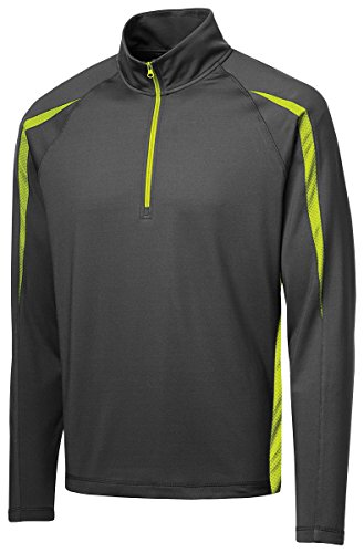 Sport-Tek Sport-Wick Stretch 1/2-Zip Pullover>L Charcoal Grey/Charge Green