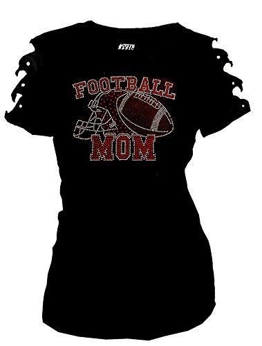 Football T-shirt Cut Womens (Fashion2ne1 Bling Bling Rhinestones Football Mom, Helmet T-Shirt Ripped Cut Out Sh (1X-Large))