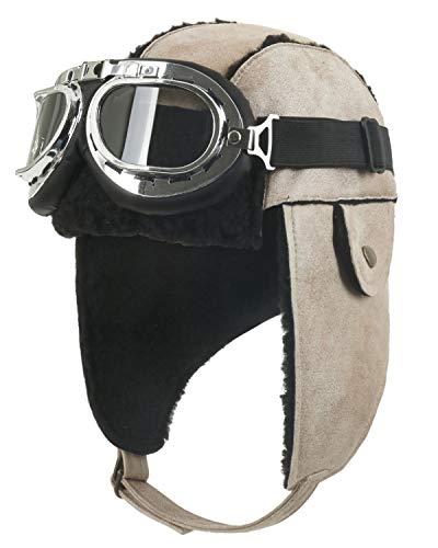 Pilot Hat With Goggles - ililily Aviator Hat Winter Snowboard Fur
