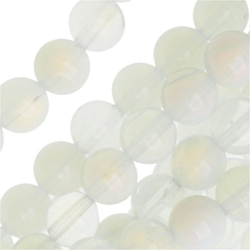 Opalite Moonstone Glass 6mm Round Beads/14 Inch Strand (Strand White Moonstone)