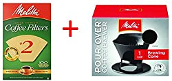 Bundle - Melitta Ready Set Joe Single Cup Pour Over Coffee Brewer Maker, Black + #2 Natural Brown Cone Coffee Filters 100-Count by Melitta