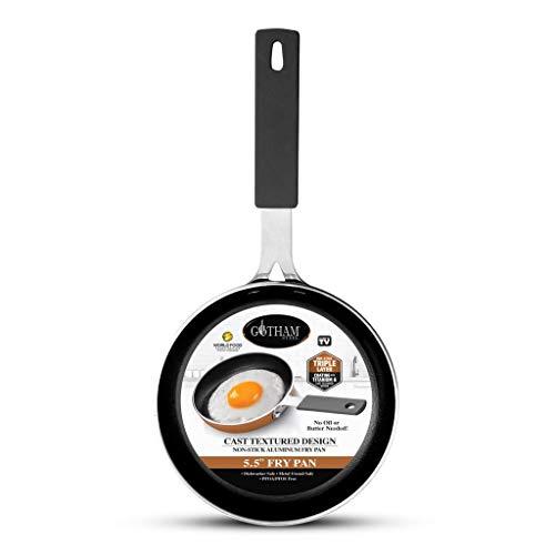 "Gotham Steel Mini Nonstick Egg & Omelet Pan – 5.5"" Single Serve Frying Pan / Skillet, Diamond Infused, Multipurpose Pan…"