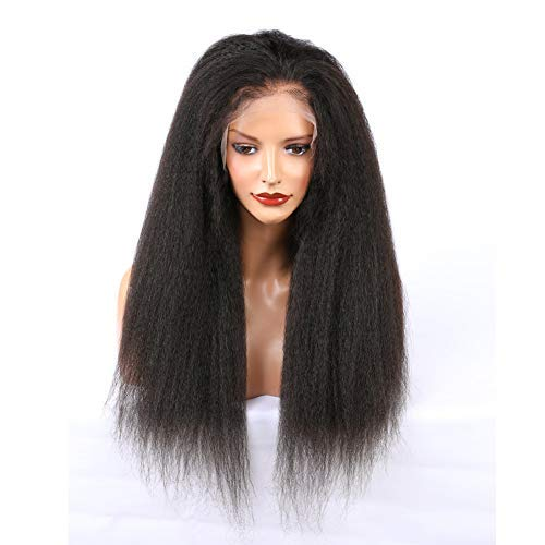 ALYSSA Hair 150% Density Kinky Straight Full Lace Wig Pre Plucked Brazilian Virgin Human Hair Wigs For Black Women 18inch Natural Color (Straight Lace Full)