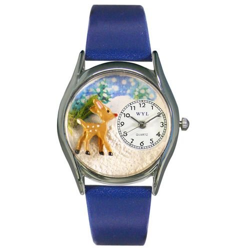 Whimsical Watches Women's S1220002 Christmas Reindeer Royal Blue Leather Watch
