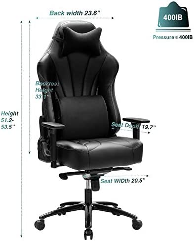 Blue Whale Super Big and Tall Gaming Chair with Massage Lumbar Support,Sedentary Reminder,Metal Base and Aluminum Alloy Armrest High Back PC Racing Office Computer Desk Ergonomic Swivel Task Chair 41vbBcXxtFL