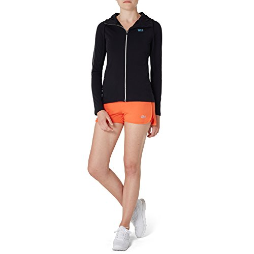 Sportkind Mädchen & Damen Tennis / Volleyball / Sport 2-in-1 Shorts mit Innenhose, orange, Gr. 164