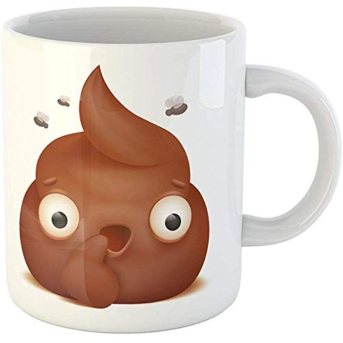 Funny Gift Personalized Coffee Mug Brown Bullshit Wondering Emoji Poo Cartoon Character Chat Comic Crap Curious 11 Oz Ceramic Coffee Mug Tea Cup Souvenir ()