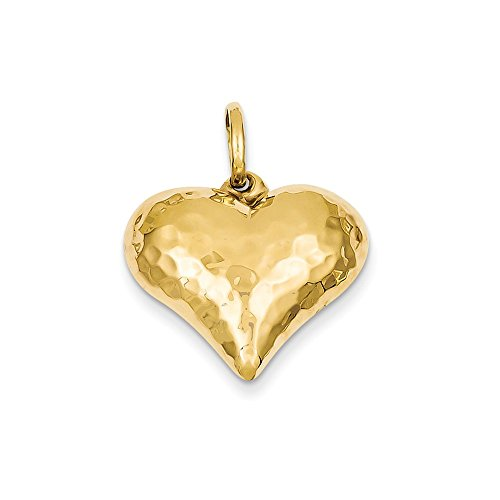 Hammered Puffed Charm Heart (14k Yellow Gold Hollow Polished Hammered Medium Puffed Heart Charm (21 x 26 mm))