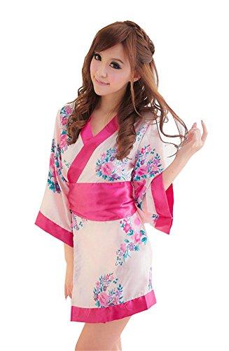 Women's Sexy Lingerie Kimono Nightgowns Bathrobe+waistband+thongs Printed