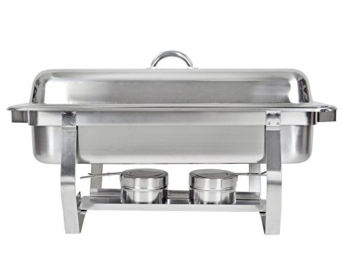 TMS Set of (2) 8 Quart Stainless Steel Rectangular Chafing Dish Full Size Buffet Catering by TMS (Image #4)