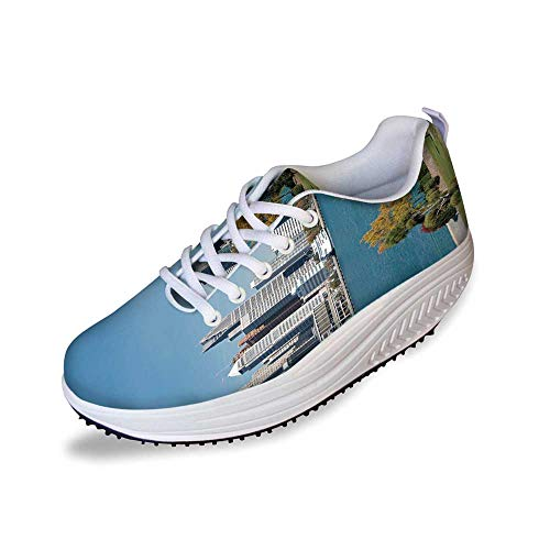 Detroit Decor Stylish Shake Shoes,Industrial City Center Shoreline River Scenic Panoramic View Sunny Day Decorative for Women,7
