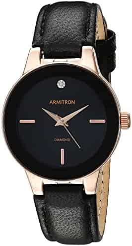 Armitron Women's 75/5410BKRGBK Diamond-Accented Rose Gold-Tone and Black Leather Strap Watch