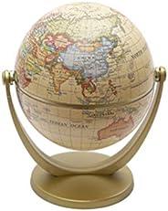 Healifty Antique Desktop World Globe with Stand World Map Rotating Earth Decoration Classroom Globe Educationa