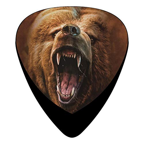 (Celluloid Guitar Picks Holders Plectrum For Mandolin Guitar,Best Gift For Guitarist,Print Grizzly Growl,12 Pack)