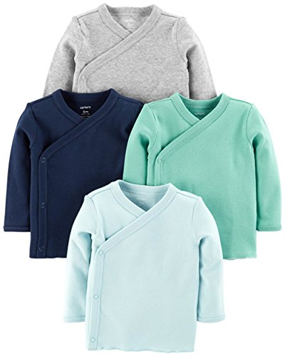 Carter's Baby Boys 4-Pack Cotton Kimono Side-Snap Tees (Blue/Green/Grey, Newborn) (Cotton 4 Pack)