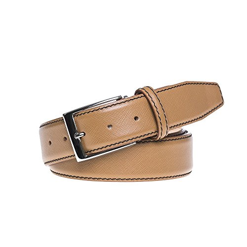 Tan Italian Saffiano Leather Belt by Roger Ximenez: Bespoke Maker of Fine Leather Goods