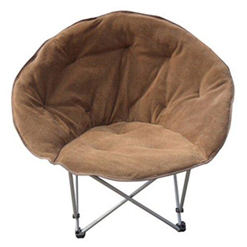Folding chair / moon chair / computer chair / lazy chair / simple fashion solid sun chair /Lunch break / beach chair /Home chair / pregnant women chairs ( Color : Brown ) by Folding Chair