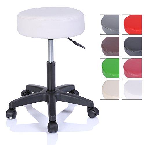 Rollhocker Arbeitshocker Hocker Drehhocker Kosmetikhocker Praxishocker höhenverstellbar mit Rollen, 360° drehbar, 10 cm Polsterfläche und 8 Farbvarianten (Weiß)