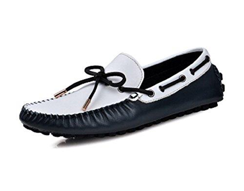 Happyshop (tm) Heren Instappers Schoenen Casual Echt Rundleder Comfort Instapper Rijgbare Schoenen 38-44 Wit En Blauw