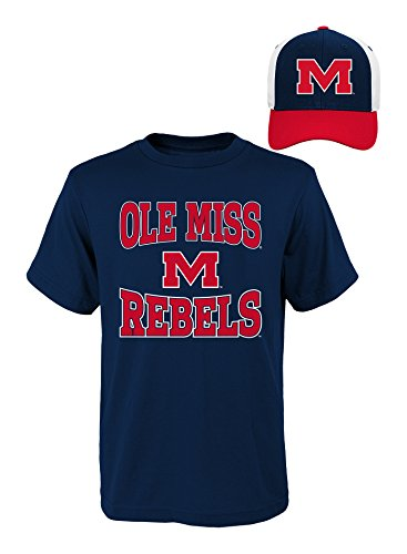 NCAA Mississippi Old Miss Rebels Youth Boys 8-20 Tee & Hat Set, Large , Assorted Colors