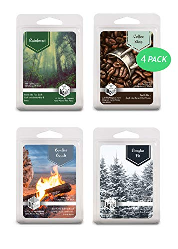 4 Pack - Pacific Northwest Collection Soy Blend Scented Wax Melts Wax Cubes, 10.0 oz, [24 Cubes] with Coffee Shop, Rainforest, Bonfire Beach and Douglas Fir ()