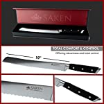 Saken Bread Knife - 10 inch Serrated in Luxury Gift Box Premium German HC Steel 12 THE ULTIMATE BREAD KNIFE >>> If freshly baked loaves of bread are a staple in your home, then this serrated knife for bread is essential. With no crushing or crumbling, this knife will glide through a soft tender loaf, freshly baked banana bread, or crusty artisan bread straight from the oven. Saken knives are a cut above the rest! ENGINEERED TO PERFECTION >>> Our chef bread knife is made with a full-tang design. The seamlessly joined handle gives you a perfectly balanced grip, while the tough, wear resistant material is designed for busy bakers. The exceptional cutting power is rare in such an affordable knife, so why not get treat yourself today? VERSATILE CUTTING >>> Not just for bread, this long serrated knife can take your culinary skills to a whole new level. From wafer-thin slices of roast eye round, to perfectly cut roast beef sandwiches, to rimming cake domes, to cutting thousands of baguette rounds for crostini, this is the knife can that do it all!