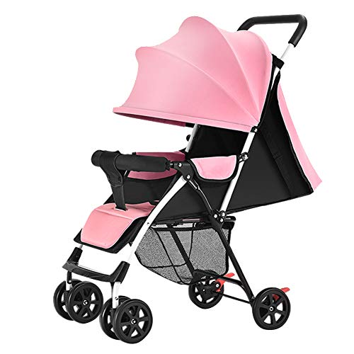 Olpchee Ultra Lightweight Portable Baby Infant Stroller Simple Folding Newborn Pushchair Toddler Travel System for Travel and Plane (Light Pink)