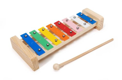 "Darice Wood Xylophone - Wood Base With 8 Metal Keys in a Scale - Includes 7"" Wooden Mallet - Can be Painted to Customize Instrument - Makes a Great Gift - Ages 3+ - Fully Assembled, 11.5"""