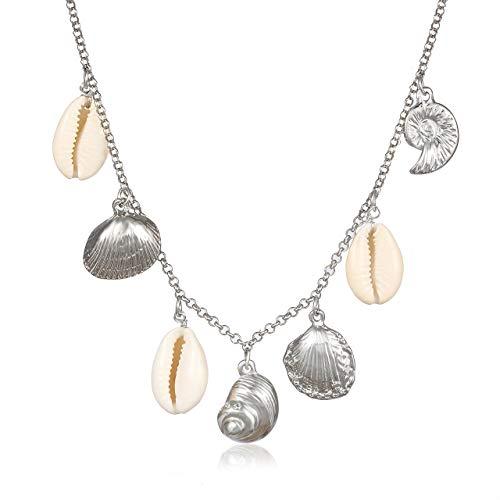 MOLOCH Natural Shell Choker Necklaces for Women Boho Cowrie Shell Choker Necklaces Adjustable Beach Conch Scallop Seashell Pendant Necklaces Jewelry (Silver Scallop)