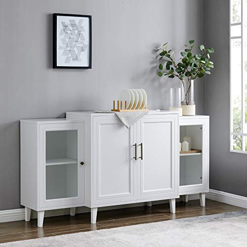 Walker Edison Furniture Company 4-Door Tiered Modern Sideboard Buffet Stand for Storage, 62, White