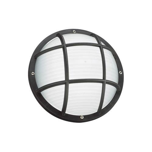 Sea Gull 89807-12 Bayside Outdoor Ceiling/Wall Flush Mount, 1-Light 75 Watts, Black by Sea Gull Lighting