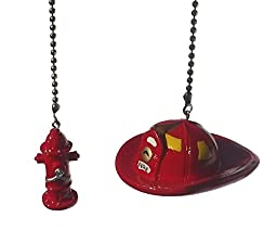 Fireman Hat & fire fighter water Hydrant SET of 2 - Ceiling fan pull light chain extender ornament