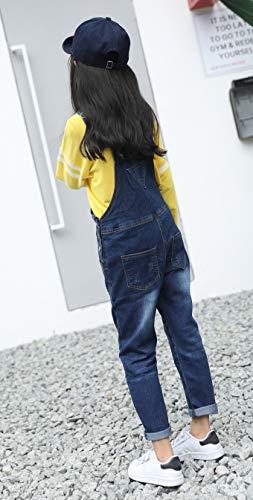 18415b86e64 Sitmptol Girls Big Kids Jumpsuits Dark Washed Jeans Teen Denim Bib Overalls  Dark Blue 140