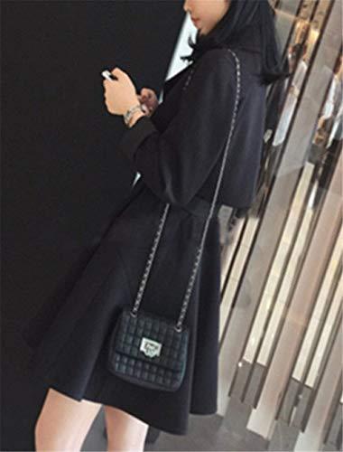 Ceinture Breal Coupe Boutonnage Confortable Double Biran Hiver Poches Elégante Longues Outwear Manches Femme jacke Avec D'extérieur Revers Latérales Vêtements Schwarz Trench dCxstBhQr