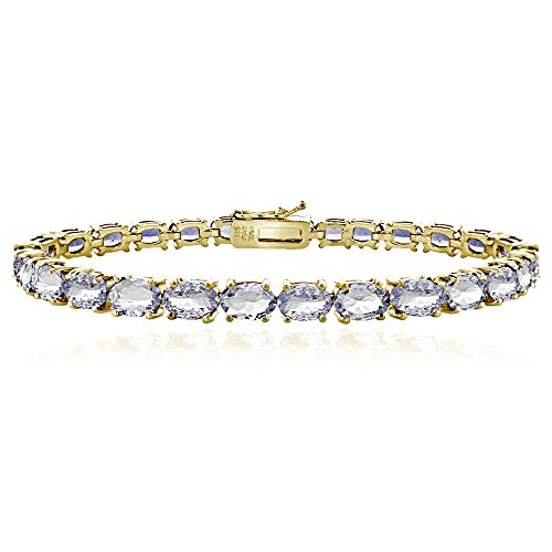 Ice Gems Yellow Gold Flashed Sterling Silver Tanzanite 6x4mm Oval Tennis -