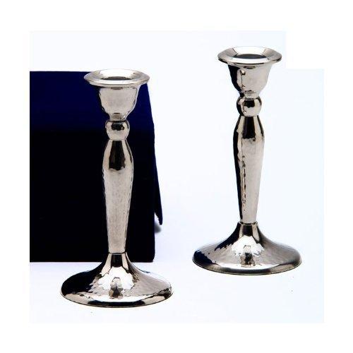 Stainless Steel Shabbat Candlesticks in Velvet Gift Box - Hammered Design Set of 2