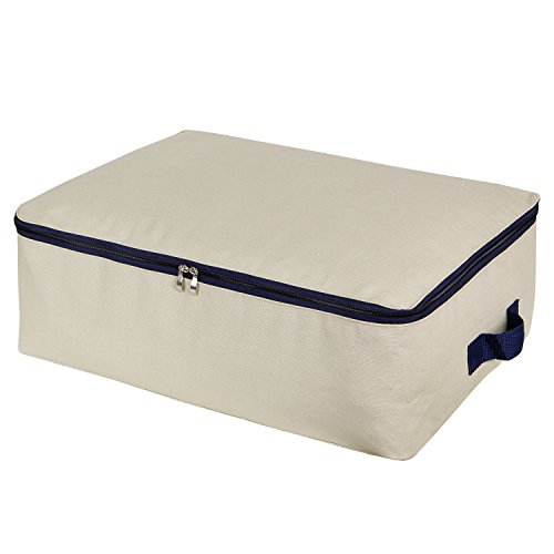 Lifewit Cotton Canvas Storage Bags Foldable Underbed Storage Bag for Comforters, Blanket, Bedding, Duvet, 50L ()