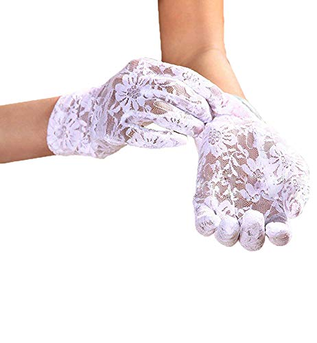 (Linabridal Women's Vintage Sheer Floral Lace Wrist Length Wedding Gloves YT026WT-White)