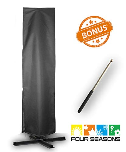 Umbrella Covers,Patio Outdoor Offset Cantilever Umbrella Cover with Push Rod Waterproof Market Parasol Covers with Zipper for 9ft to 13ft Outdoor Umbrellas Large ()
