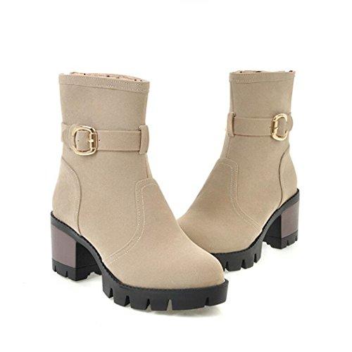 ZQ@QXEl otoño y el invierno de cabeza redonda Taiwán impermeable grueso con zapatos de tacón de moda cinturón, y después de un corto botas Beige