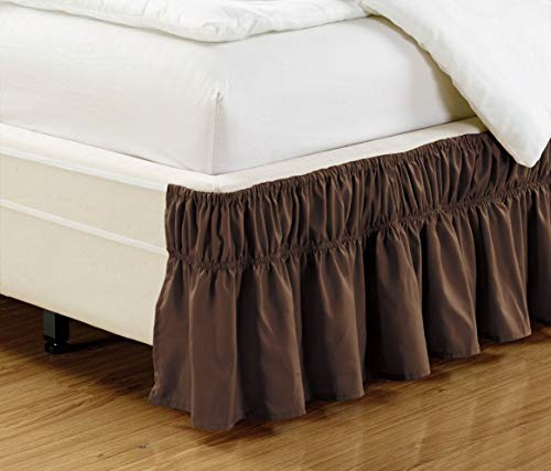 Grand Linen Wrap Around Dark Brown Ruffled Elastic Solid Bed Skirt Fits Both Queen, King and Cal King Size Bedding High Thread Count 14 inch Fall Microfiber Dust Ruffle, Silky Soft & Wrinkle Free.