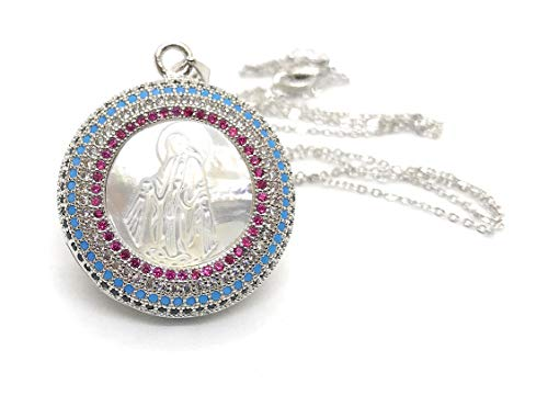 (LESLIE BOULES Virgin Mary Necklace for Women Miraculous Medal Pendant Silver Plated Chain)
