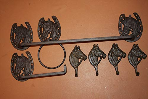 Southern Metal Cast Iron Equestrian Bathroom Decor Towel Rack Ring Toilet Paper Holder Wall Hooks Bundle of 7 Pieces