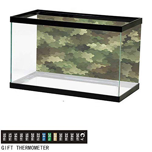 """wwwhsl Aquarium Background,Camo,Frosted Glass Effect Hexagonal Abstract Being Invisible Woodland Print,Green Pale Green and Brown Fish Tank Backdrop 48"""" L X 24"""" H"""