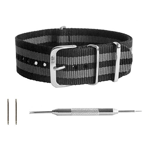 - Benchmark Straps 20mm Black and Gray Striped Ballistic Nylon NATO Watchband + Spring Bar Removal Tool