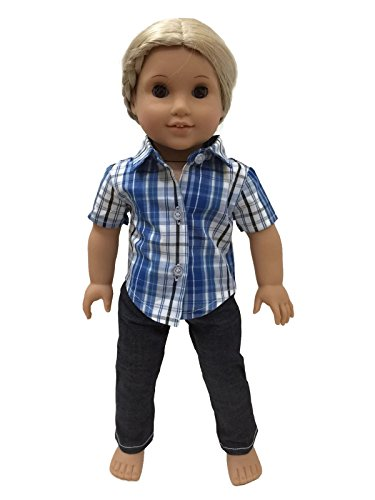 Glamerup Exclusive: Nick - Blue Plaid Button-Down Shirt and Jeans Unisex Outfit Set - Sized for Most 18 inch Dolls
