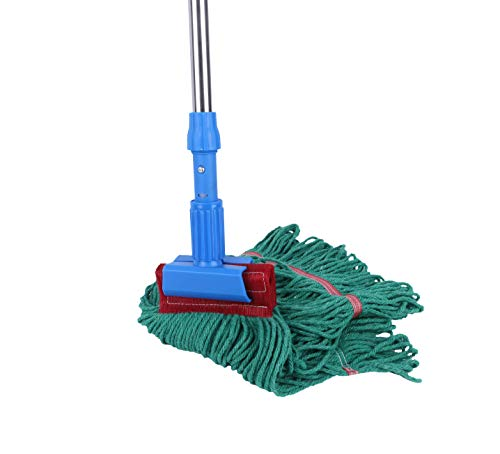 Cotton Yarn Wet Mop Set Microfiber Mop Commercial Looped End with Stainless Steel Telescopic Handle(Green)